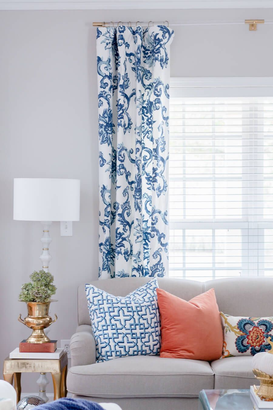 Blue And Orange Fall Home Tour Part 1 Video The Home I Create Blue And White Curtains Curtains Living Room Blue And Orange Living Room
