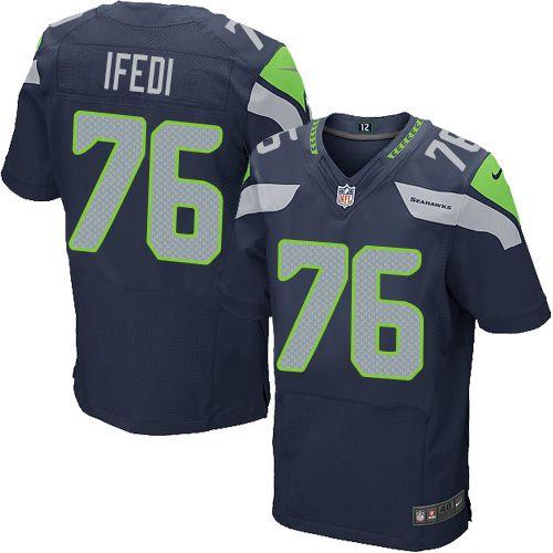 Men's Nike Seattle Seahawks #76 Germain Ifedi Elite Steel Blue ...