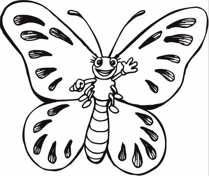 Cartoon Butterfly Coloring Page Coloring Page Book For Kids