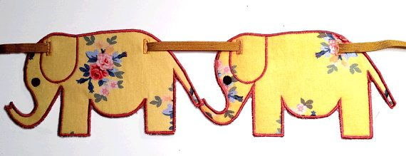 APPLIQUE ELEPHANT BUNTING Machine embroidery Designs