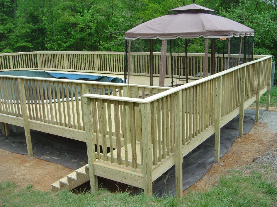 Awesome build a free standing deck design http for Wood deck designs free