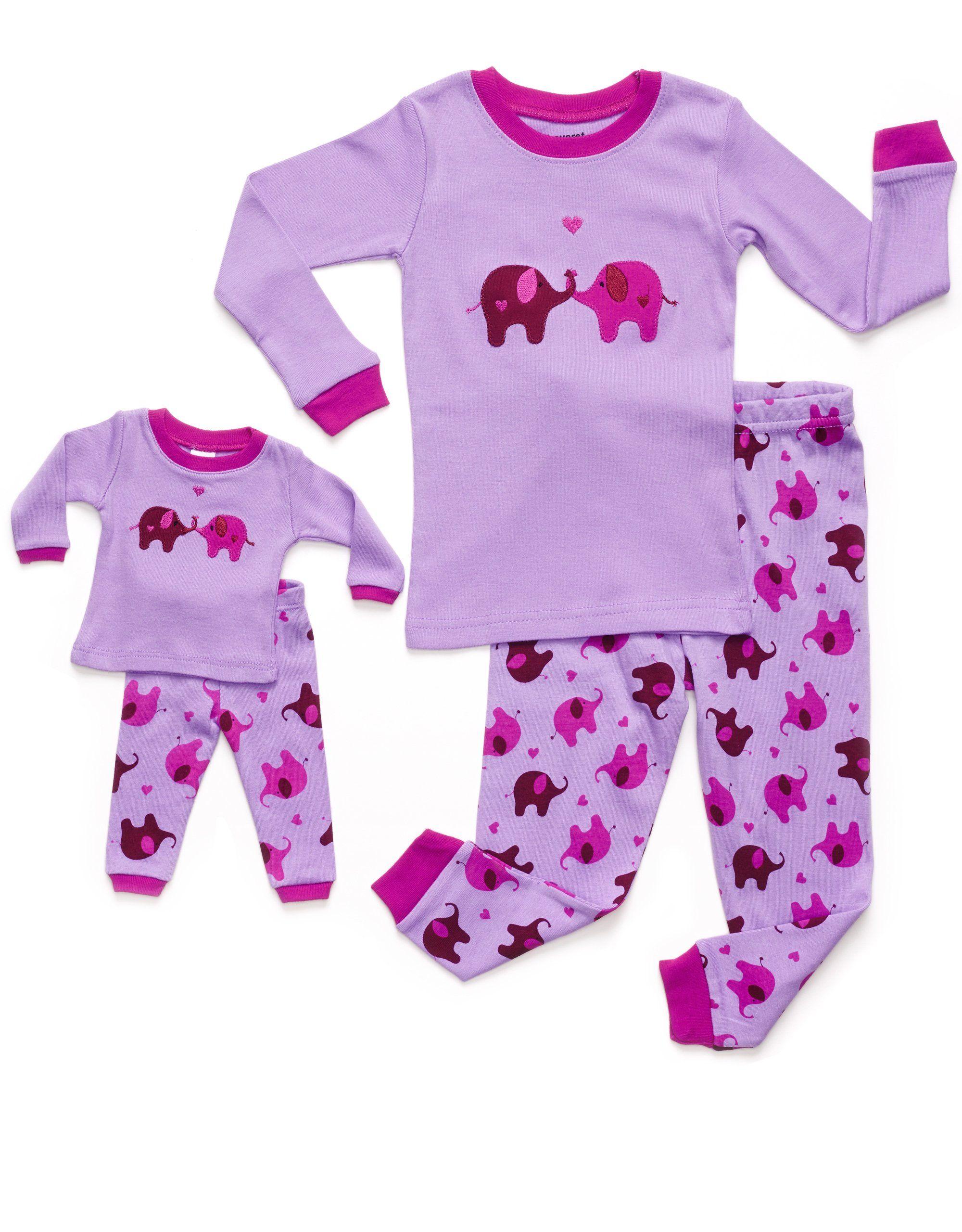 Leveret Dinosaur Girls Matching Doll /& Kid 2 Piece Pajama 100/% Cotton 2-10 Y