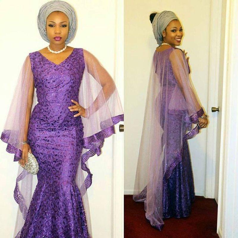 Fashion Purple Long Evening Dress With Cap Long African Nigerian ...