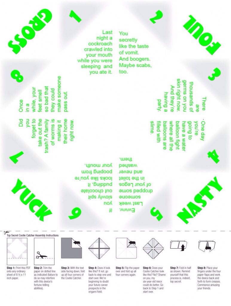 Downloadable Customizable Printable Paper Fortune Teller Template