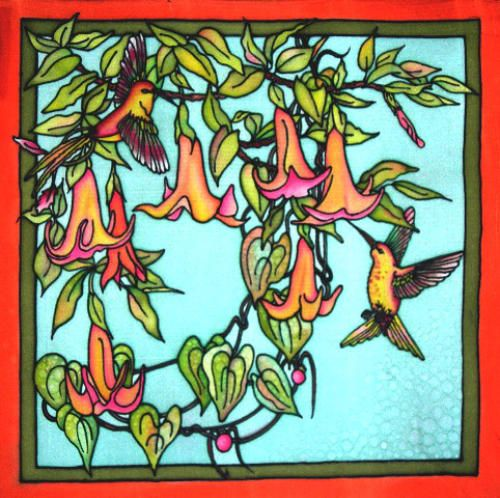 "Hovering Hummingbird 17"" square, silk twill, $89 US"