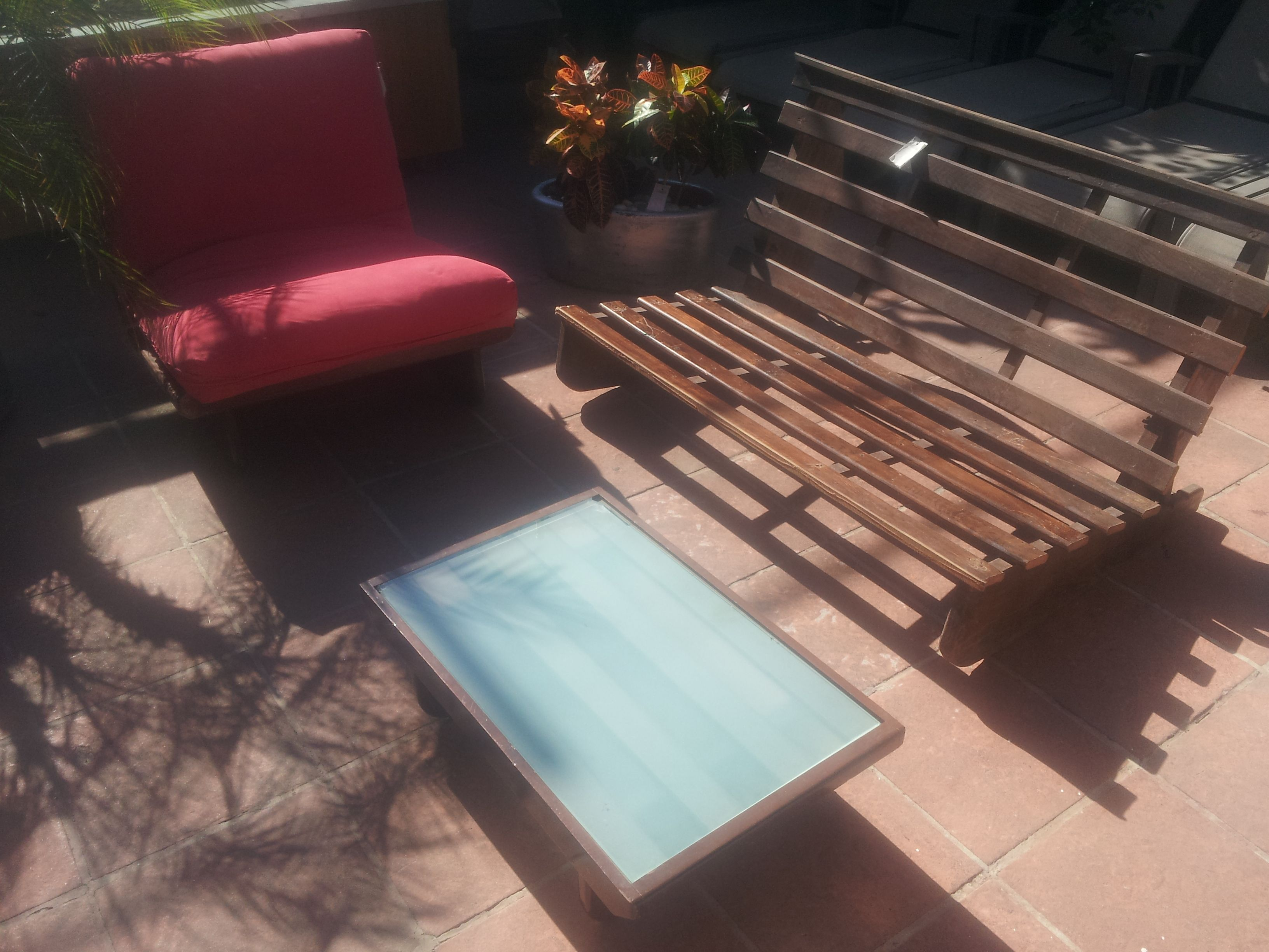 Futon Couch & Chair In Wood Slat Patio Furniture. Small Outdoor
