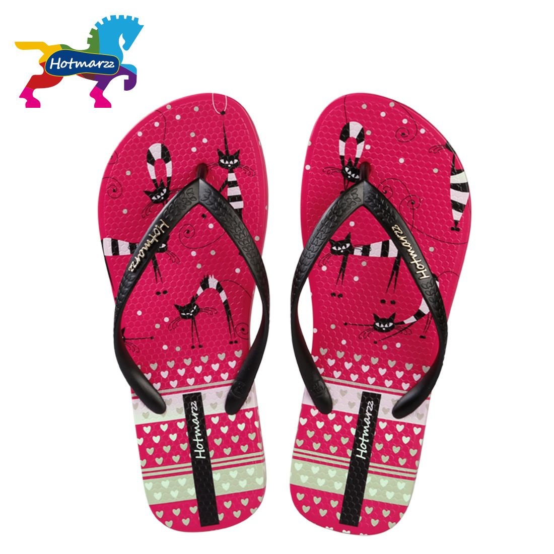 8fb6ddfc04c2 Couple Flip Flops Pink Decor Print Chic Sandals Slipper Rubber Non-Slip  House Thong Slippers
