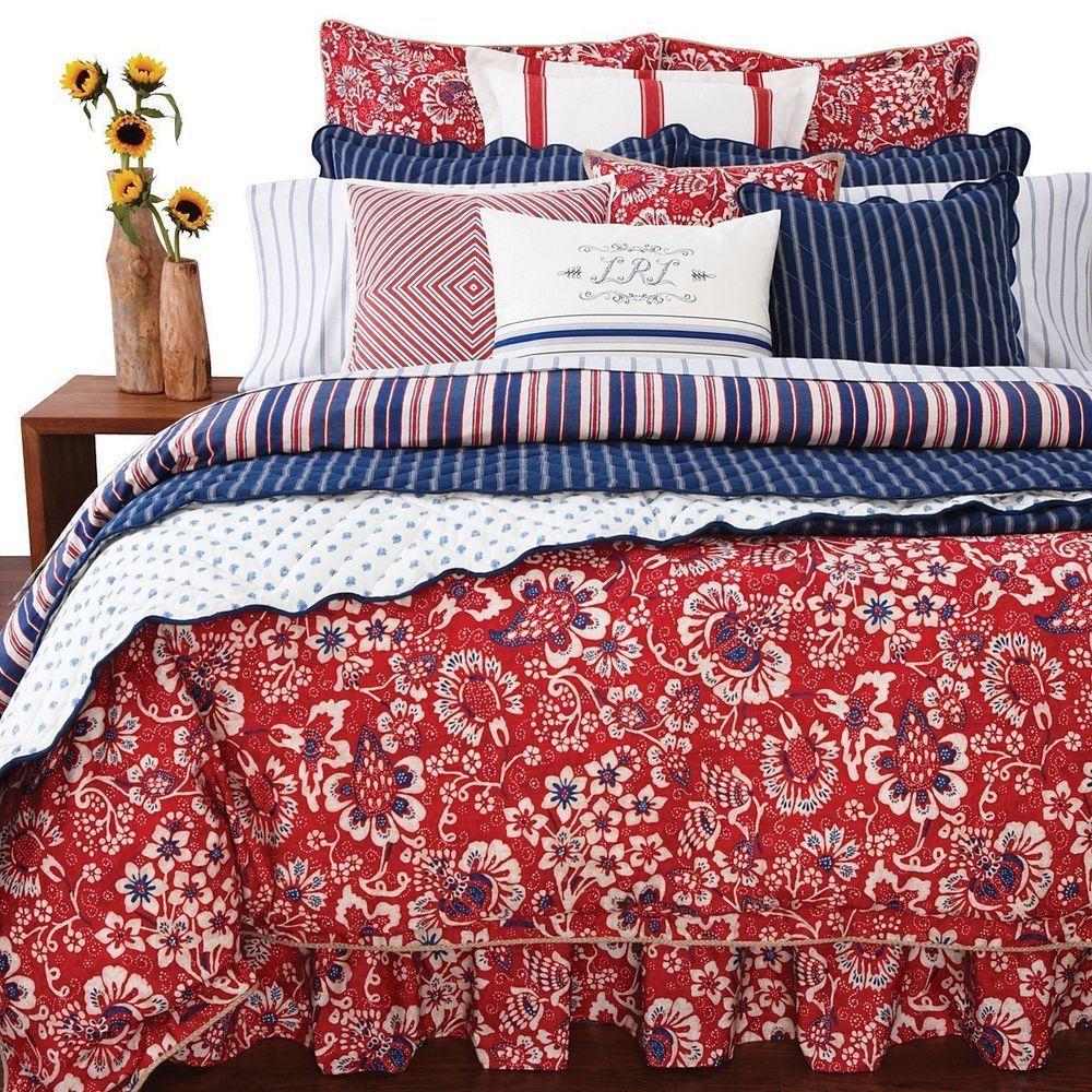 29990654 Ralph Lauren Villa Martine Set 3 Euro Pillow Shams Red White Blue ...
