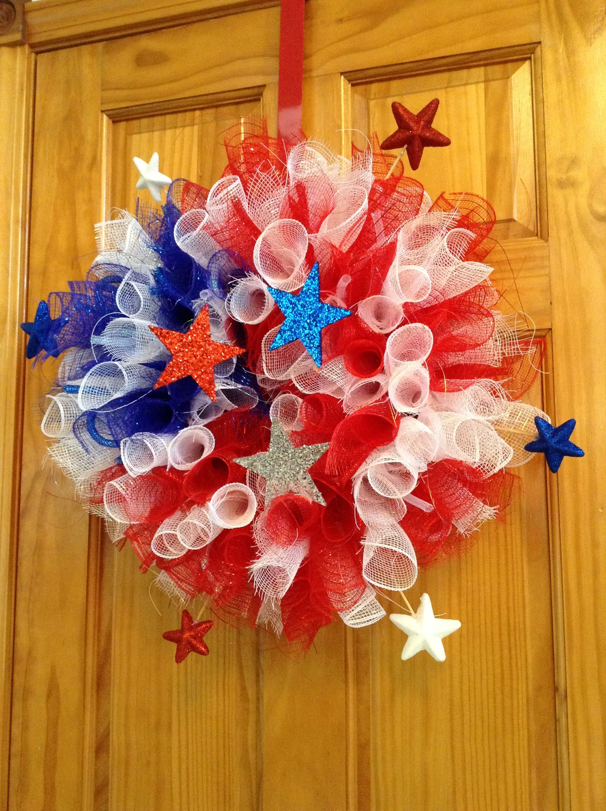 4th Of July Deco Mesh Wreath I Made Wreaths Deco