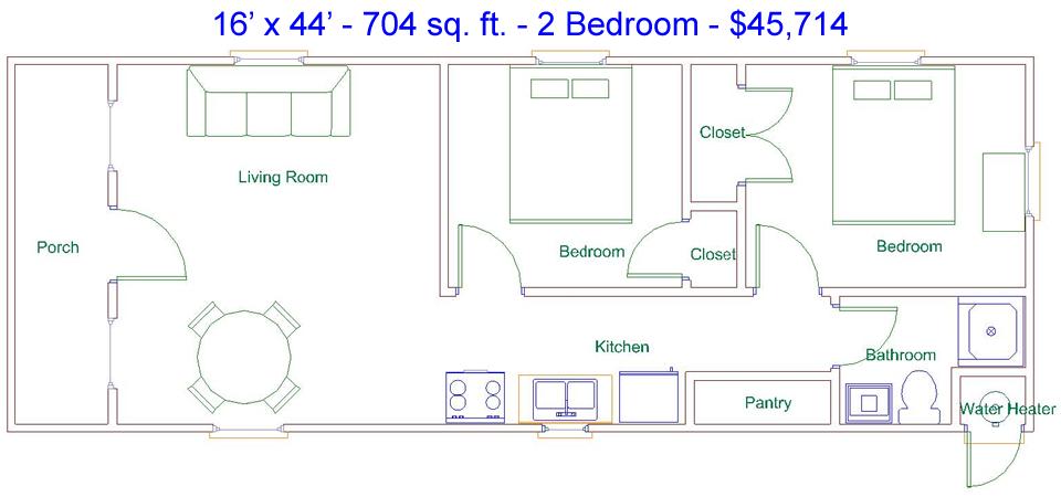 Derksen 16 x 44 704 sq ft 2 bedroom factory for Portable building floor plans