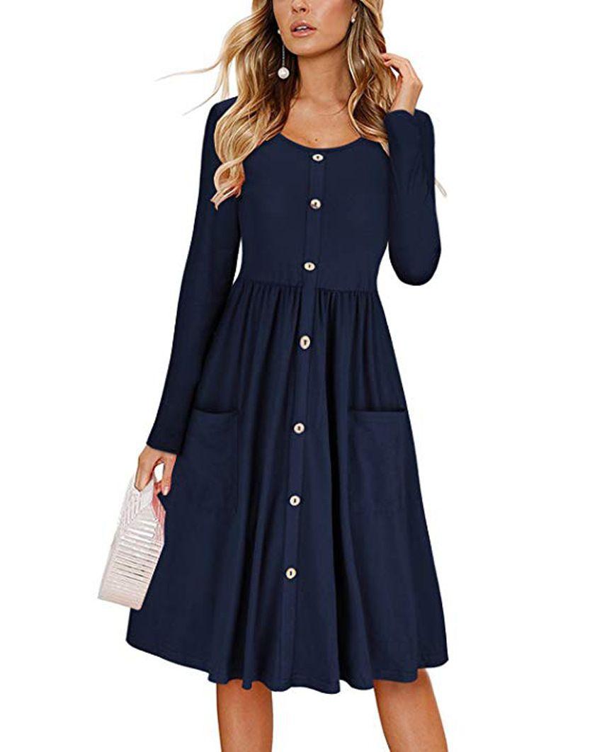 Women Casual Dress Autumn Button Long Sleeve Pockets Slim A Line Work Office Party Dress Navy Blue Women Long Sleeve Dress Sleeved Swing Dress Long Sleeve Swing Dress [ 1062 x 850 Pixel ]
