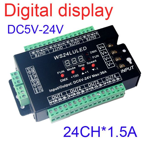 Dc5v 24v Digital Display 24ch Easy Dmx512 Dmx Decoder Led Dimmer Each Channel Max 3a 24 Channels 8 Groups Led Rgb Control Light Accessories Display Led Dimmer