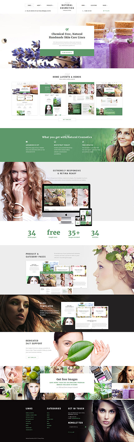 Natural Cosmetics Company Website Template Themes Business Responsive Websitethemes