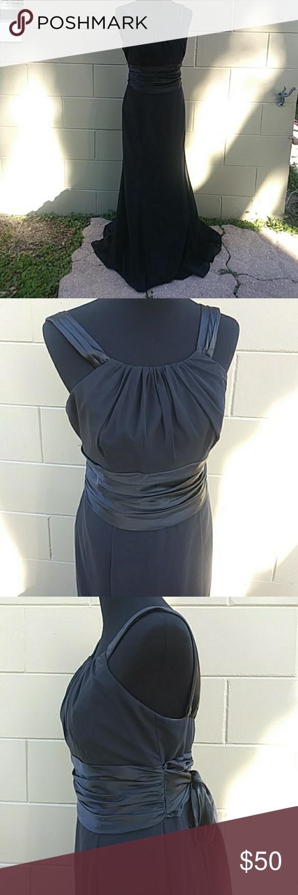 Davids bridal black full length gown my posh picks pinterest