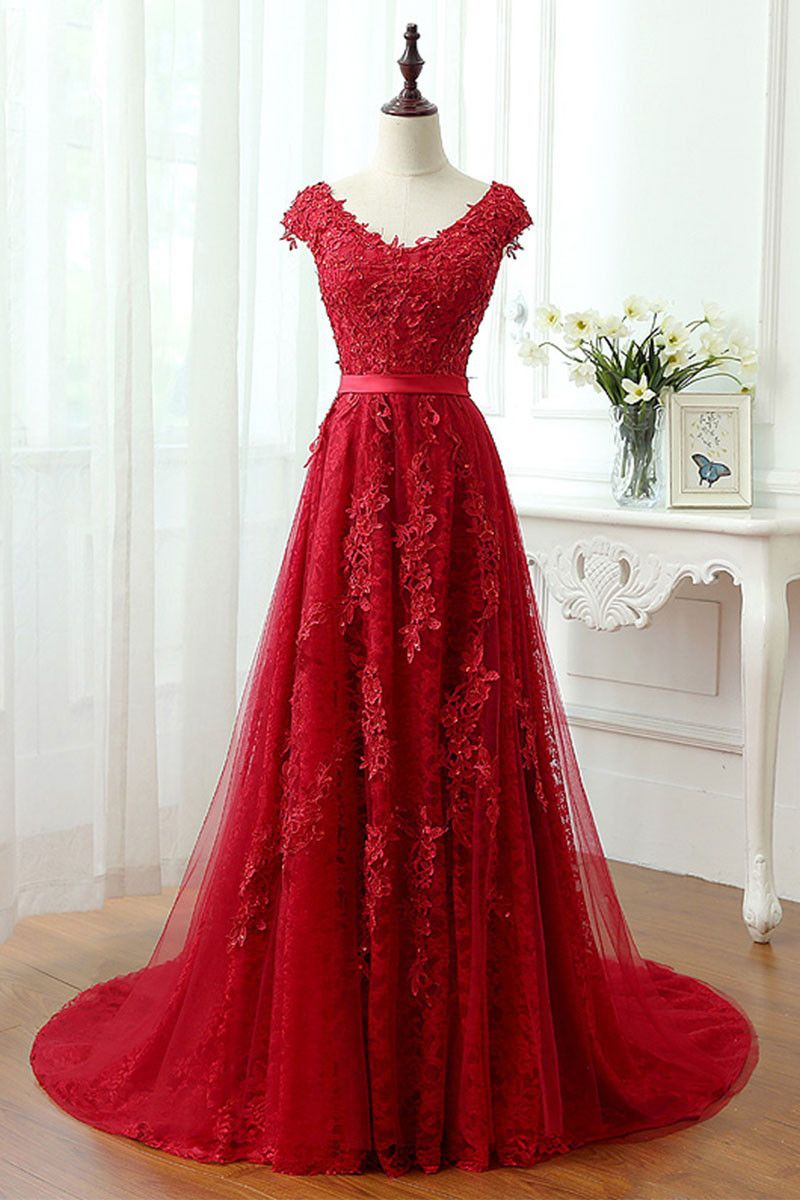 Red lace tulle long prom dress red lace evening dress evening