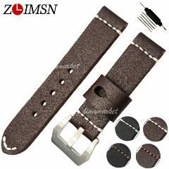 [ 26% OFF ] 22Mm 24Mm Thick Leather Watchbands Mens Watch Bands Strap Belt Black Brown Silver Stainless Steel Clasp Stainless Steel Buckle