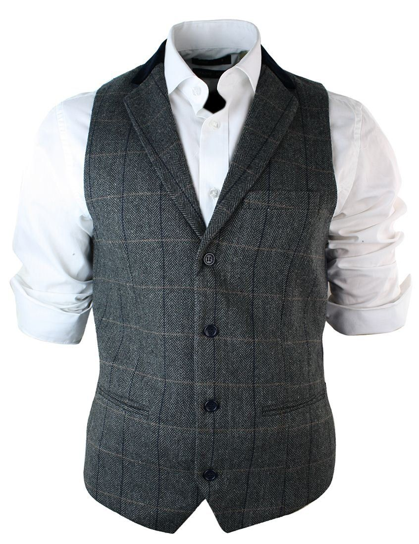 670b4af5b55ec Mens Vintage Tweed Check Waistcoat Herringbone Tan Brown Charcoal Grey Slim  Fit  Amazon.co.uk  Clothing