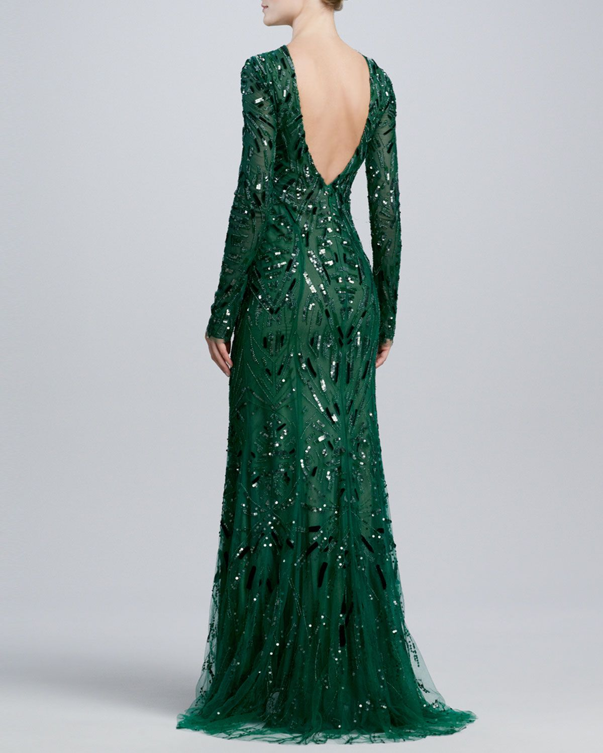 Monique Lhuillier Beaded & Embroidered Long-Sleeve Gown - Neiman ...
