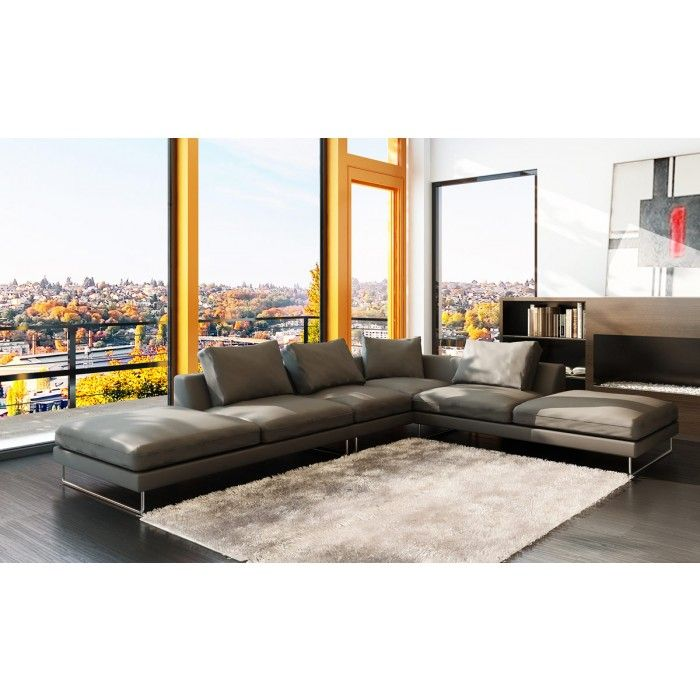Fantastic 5051 Modern Grey Leather Sectional Sofa My New Apartment Evergreenethics Interior Chair Design Evergreenethicsorg