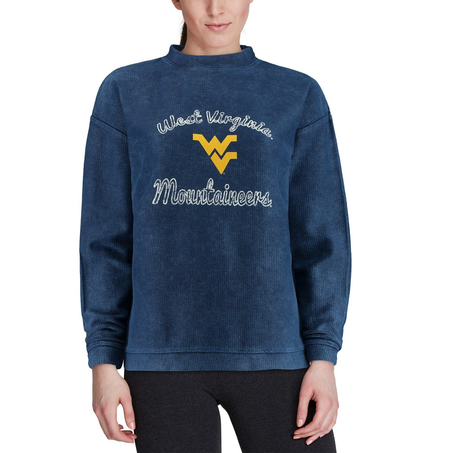 Women's Concepts Sport Charcoal West Virginia Mountaineers Jetway Mineral Wash Corduroy Crew Neck Sweatshirt #westvirginia