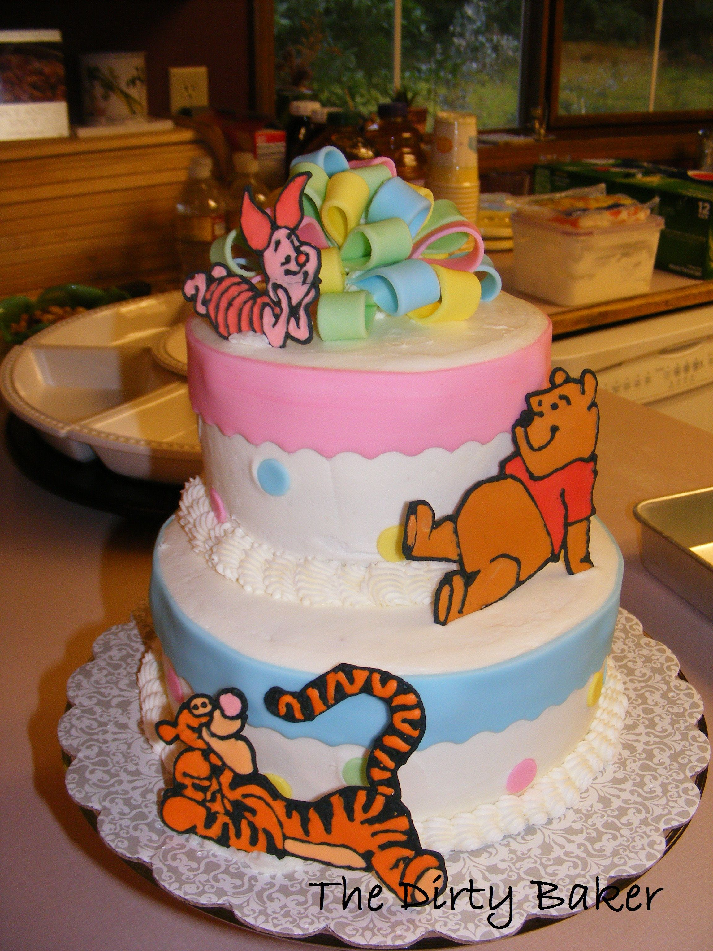 Pooh, Piglet, And Tigger Baby Shower Cake