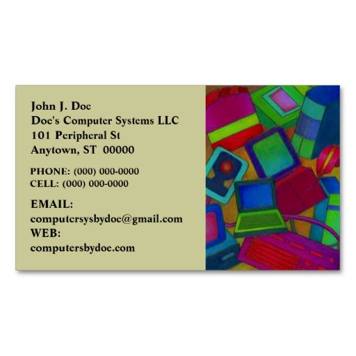 COLORFUL COMPUTER PARTS COMPONENTS BUSINESS CARD. This great business card design is available for customization. All text style, colors, sizes can be modified to fit your needs. Just click the image to learn more!