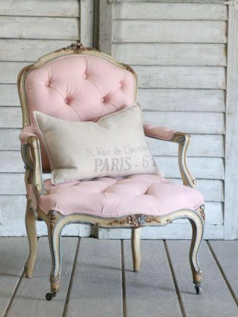 Light Pink Chair With Paris Pillow