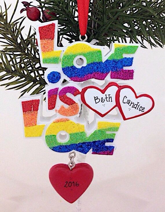 2edf6ba68e FREE SHIPPING Love is Love /Pride Rainbow / Gay Couple Christmas Ornament /  First Christmas Ornament / Personalized Christmas Ornament by AdornamentsNY  on ...