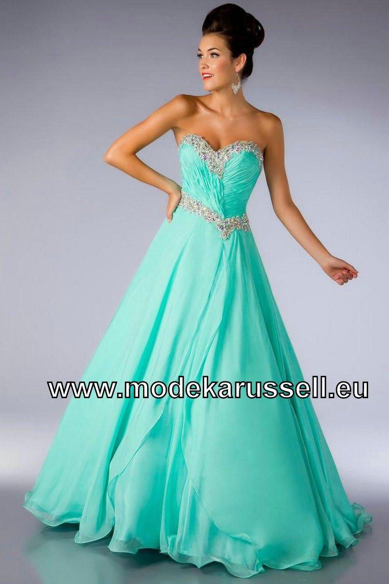 Mint Grünes A Linie Abend Kleid  Grüne ballkleider, Blaue