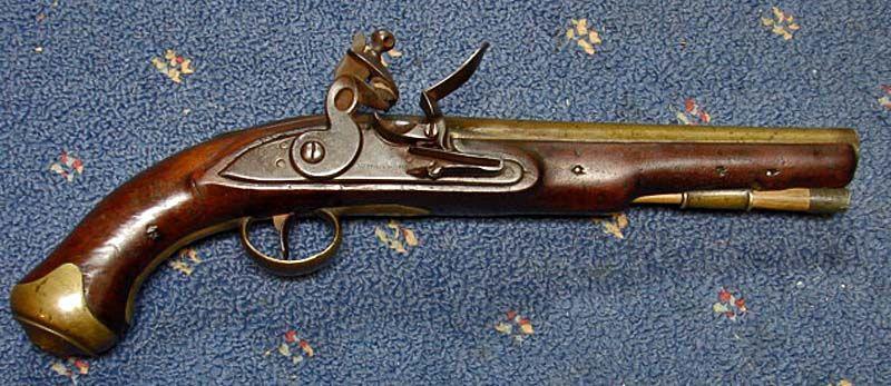 British Brass Barrel Flintlock Pistol.