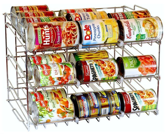 Canned Food Storage Rack Kitchen Pantry Cupboard Organizer 36 Can Holder  Chrome #CannedFoodStorageRack