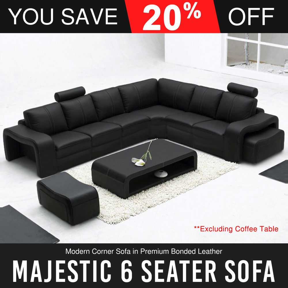 6 Seater Corner Black Bonded Leather 2x Movable Ottoman Sectional Sofa Majestic Leather Corner Sofa Modern Leather Sectional Sofas Sectional Sofa