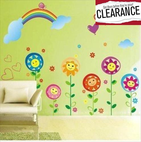 Ryuan Cartoon Smiley Sunflower with Rainbow Wall Decal Sticker ...