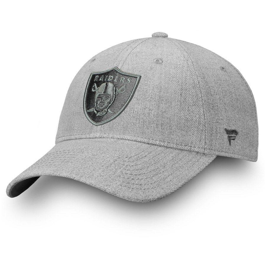6b436514a Men s Oakland Raiders NFL Pro Line by Fanatics Branded Heathered Gray Logo  Team Haze Adjustable Snapback Hat