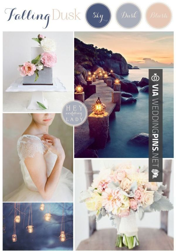 Wedding Colour Schemes 2017 Falling Dusk A Inspiration Board In Shades Of Twilight Blue And Blush By Hey Lady