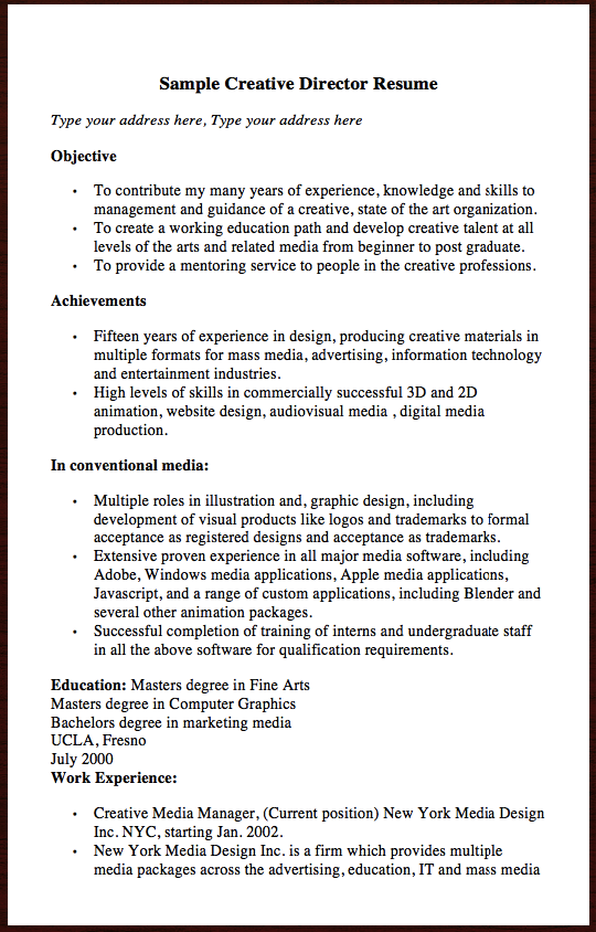 Here Is The Free Sample Of Creative Director Resume You Can Preview It Here Sample Creative Director Resume Type Your Address Here Type Your Address Here