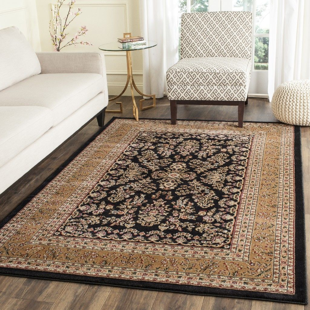 Lyndhurst Collection 5 3 X 7 6 Rug In Black And Tan Safavieh Lnh331d 5 Traditional Area Rugs Living Room Area Rugs Area Rugs