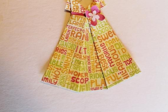 Photo of Small Bright Yellow Lime Green Pink Words Origami Dress with hanger (dress about  3 1/2″ x 3 3/4″) use for cards or party favors too!