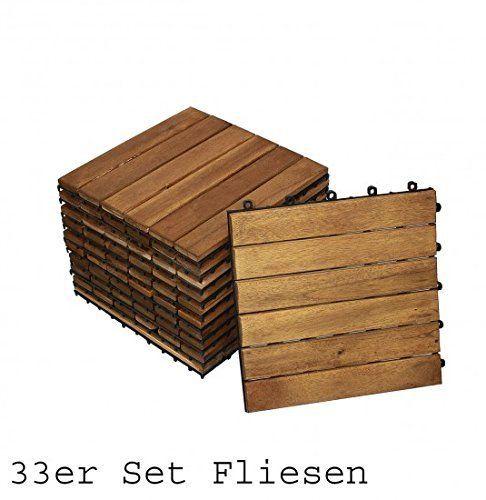 Holzfliese Terrassenfliesen 30x30cm Klickfliese Fliesen Akazie 11 Stück