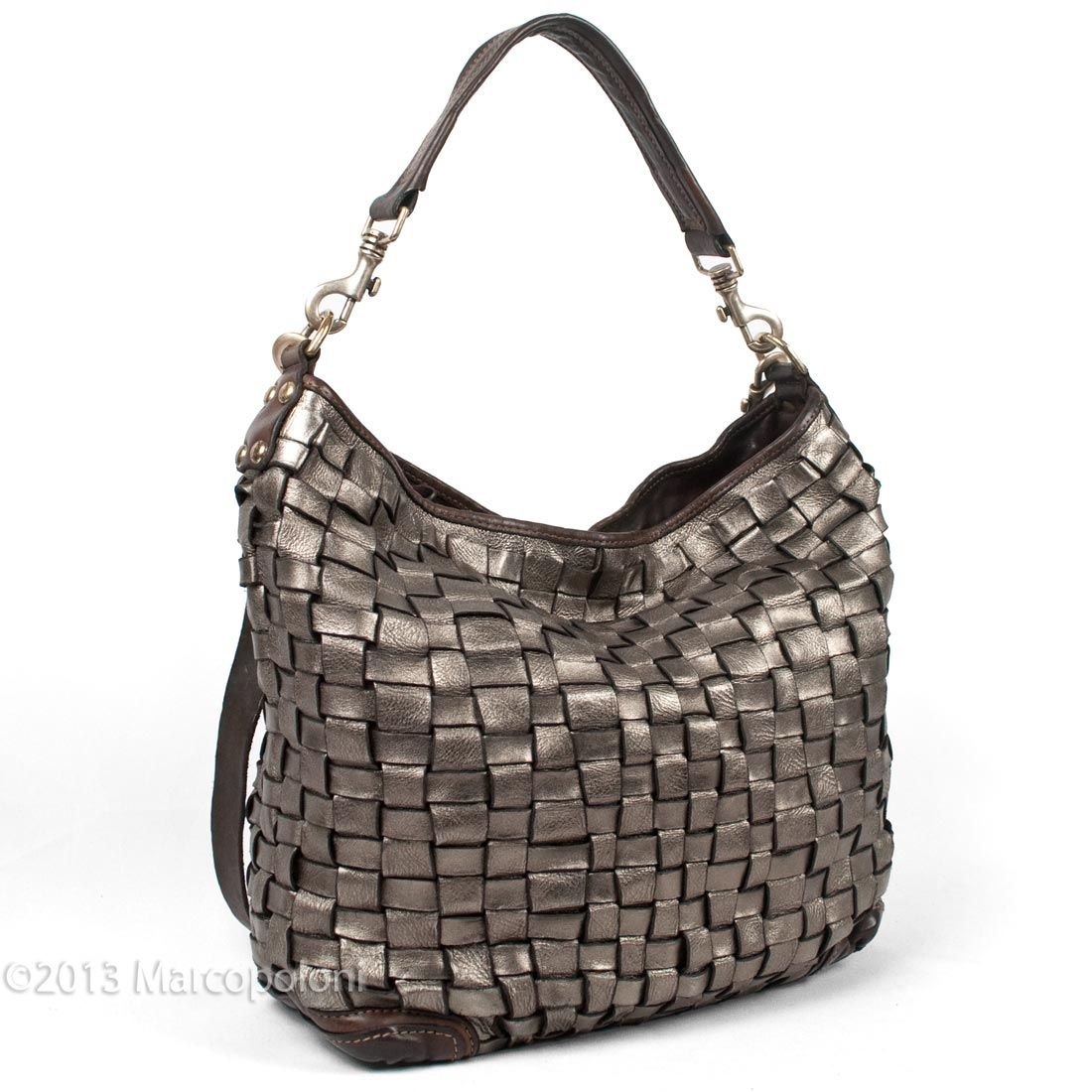 Metallic Woven Leather Hobo with Short and Long Straps - BELZONI by Campomaggi | Marcopoloni