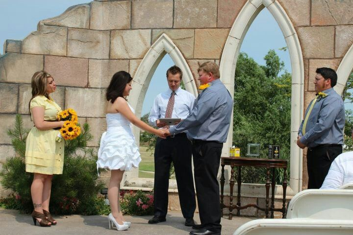 Our very casual outdoor summer wedding short wedding dress