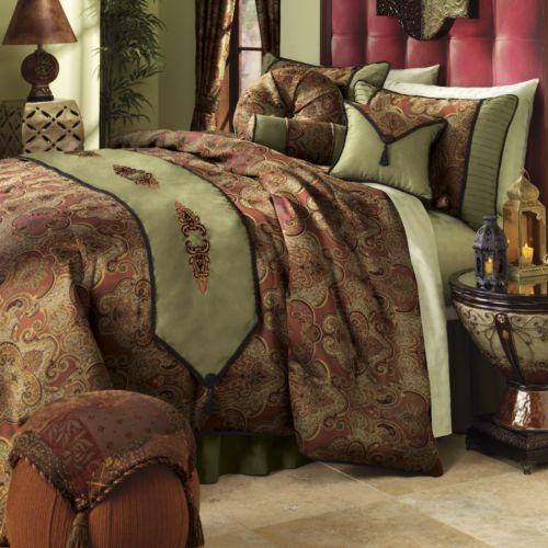 opulent design cream bedding. Comforter Set  Aramis Escape to an exotic paradise Opulent woven jacquard bedding features