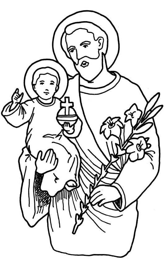 Mar 19 st joseph coloring page religione pinterest for St joseph coloring page