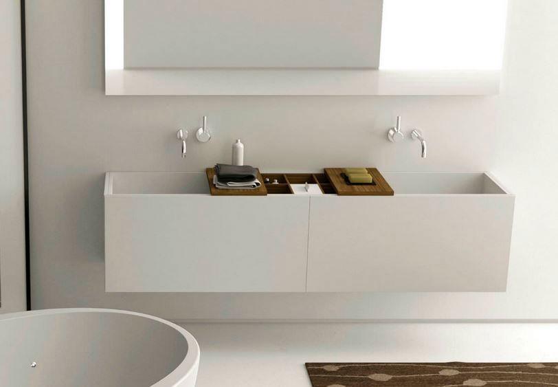 Canasta #mobile #bagno in #corian e #accessori in #legno | Idee per ...