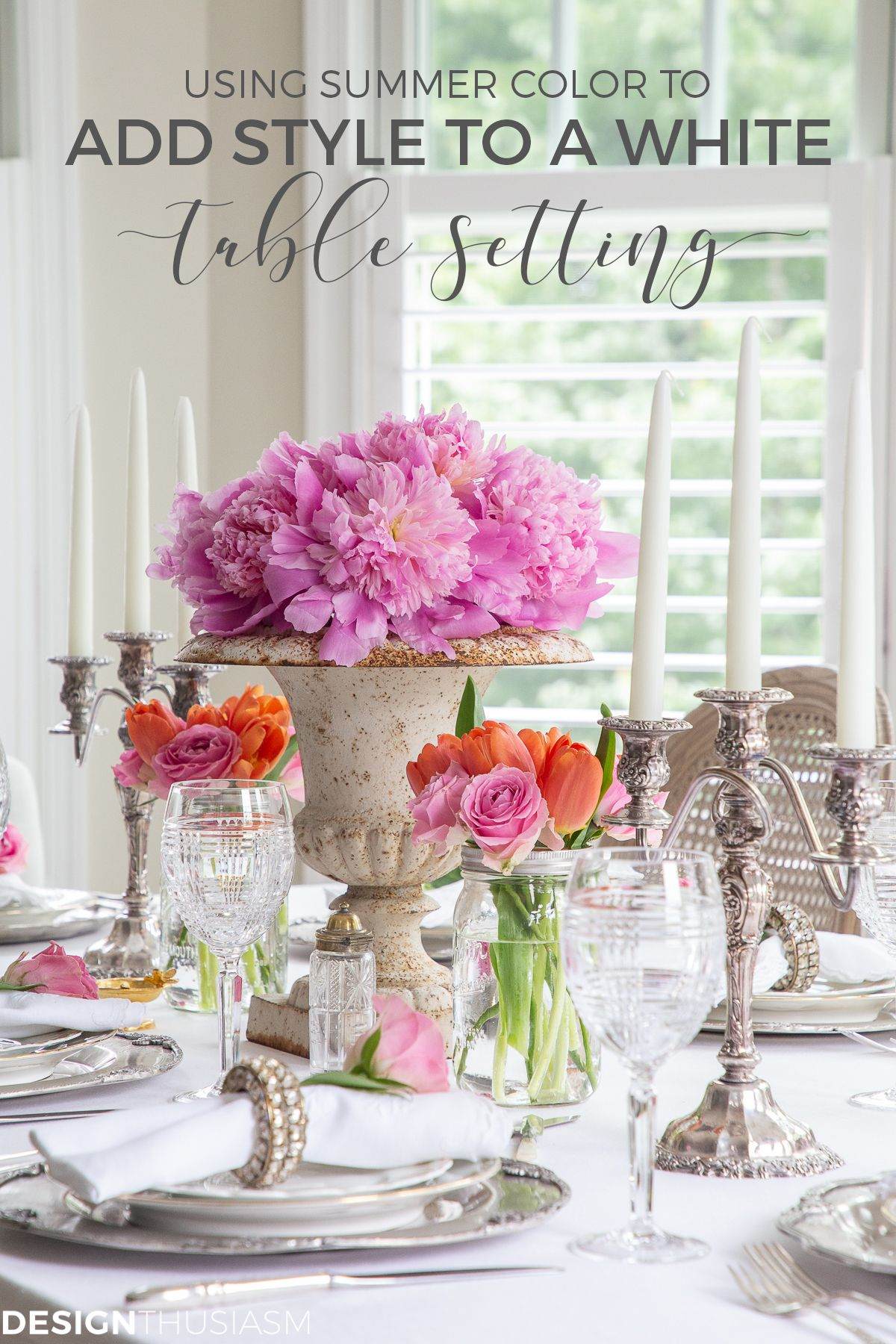 Adding Summer Color To A White Dining Table Setting White Dining