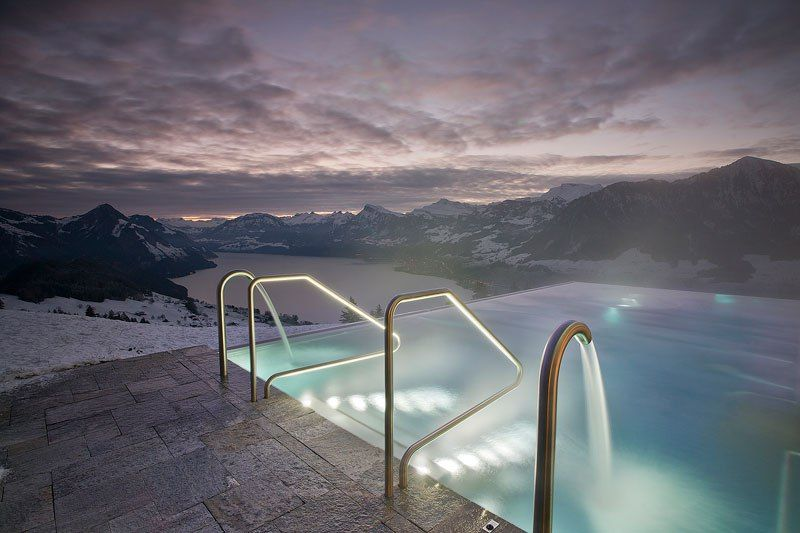 Best Hotel In Switzerland With Infinity Pool People Are Calling This Rooftop Infinity Pool In The Swiss Alps The Stairway To Heaven Hotel Villa Honegg Villa Honegg Switzerland Hotels