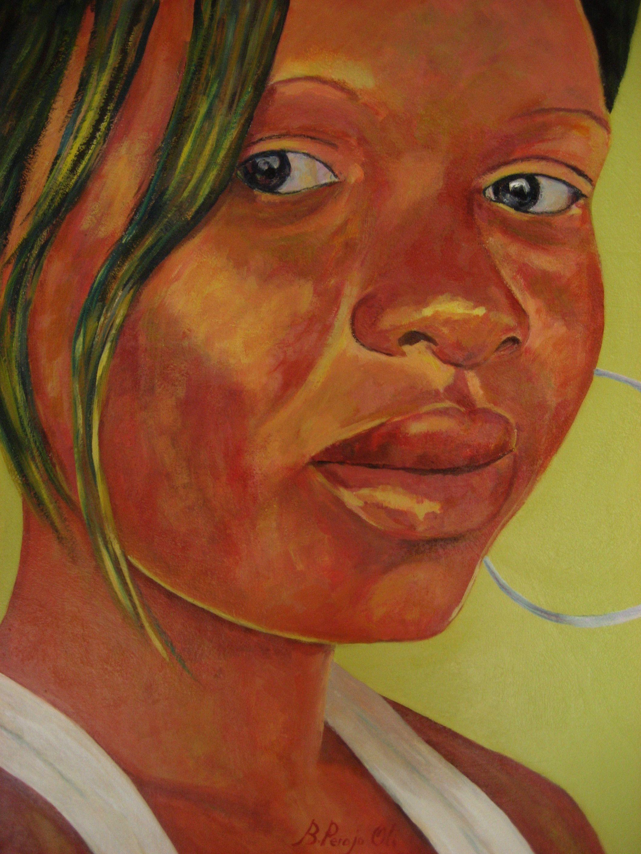 Joven Senegalesa acrilico sobre DM 77x66 cm