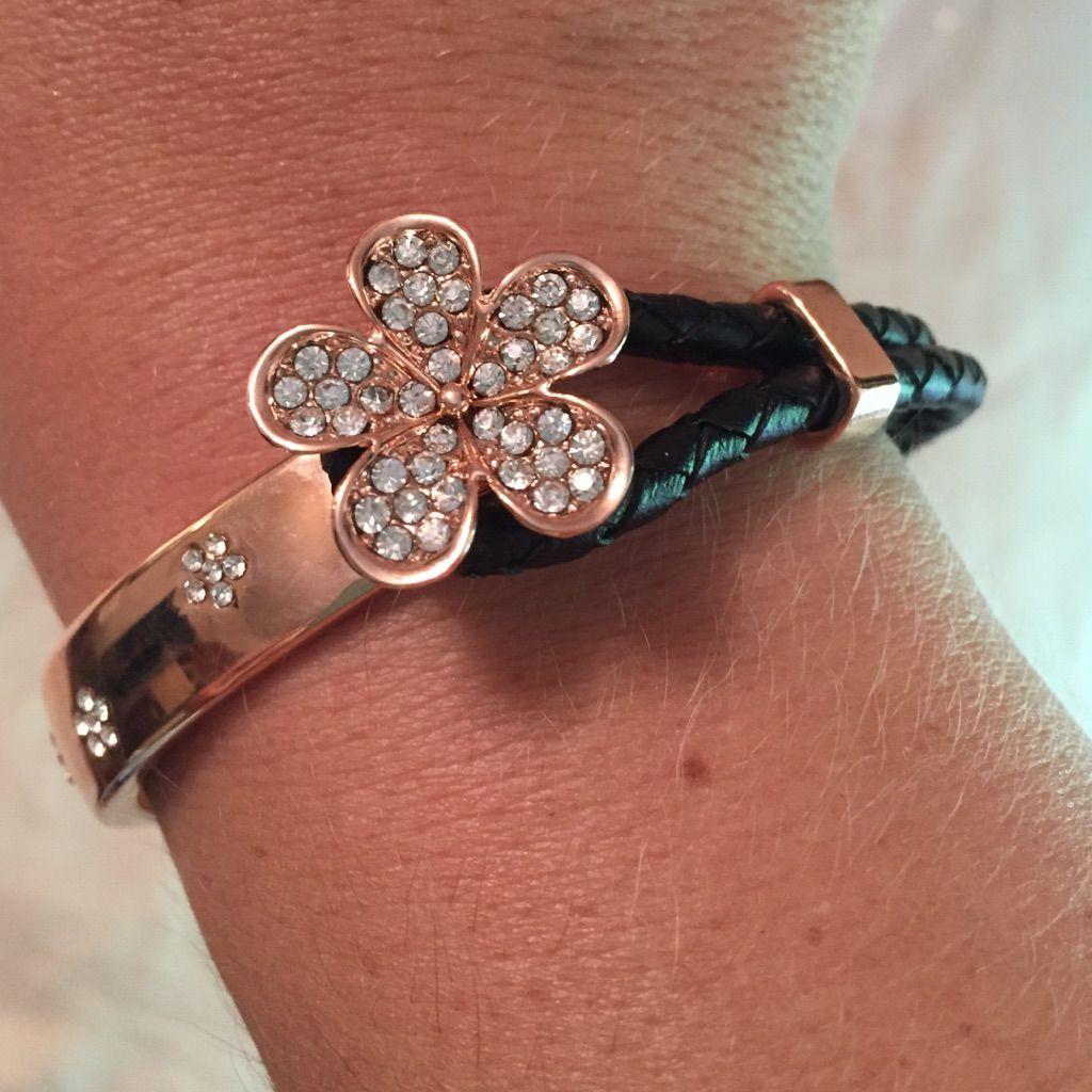 Rose gold swarovski flower u leather bracelet leather bracelets