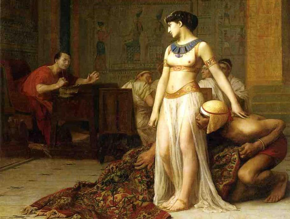 Cleopatra Queen Of Egypt /& Julius Caesar Rome Painting Real Canvas Art Print