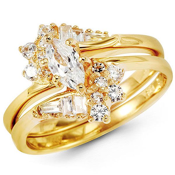 marquise center 14k yellow gold cz wedding ring set but without the square diamonds - 14k Gold Wedding Ring Sets